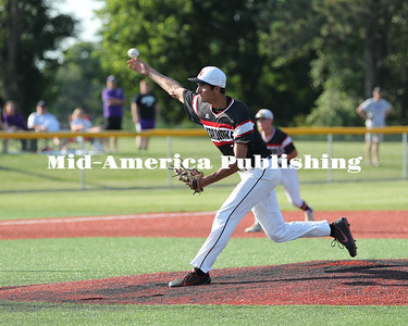 Rick Ermer Photo GHV Senior Pitcher, Ryan Meyers, throws to the plate during the Cards season ending 2-1 loss to Lake Mills. Meyers pitched a fine game allowing 5 hits and striking out 10.