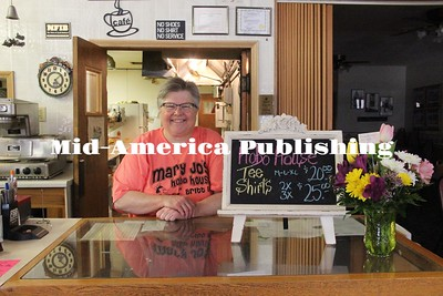 Curran McLaughlin | The Leader Mary Jo Hughes behind the counter space in the Hobo House in Britt.