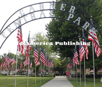 The Avenue of Flag at Garner's Central Park honors departed veterans. Full coverage of the Memorial Day observance at Garner and Klemme will be in the June 7 edition of The Leader. Leader photo by Rebecca Peter