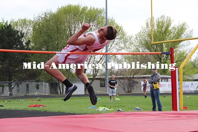 Curran McLaughlin | The Leader Bryer Subject hops up in the high jump event at the District meet in Nashua-Plainfield.