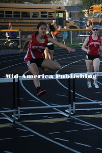 Curran McLaughlin | The Leader Anahi Calles and Grace Rosin in the 400m hurdles at the TIC conference meet.
