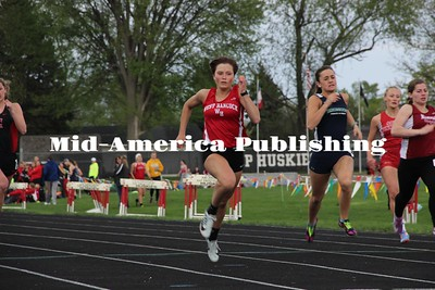 Curran McLaughlin | The Leader Jade Oberhelman races to the finish at the District track meet in Nashua-Plainfield.