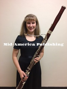 Submitted photo Grace Rosin with her Bassoon after the West Hancock Band concert on Thursday.