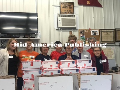 Curran McLaughlin | The Leader A member of Joni Ernst staff (pictured on the left) in Cedar Rapids came to help the Dean Walsh VFW Auxiliary Post 4370 in Britt in October.