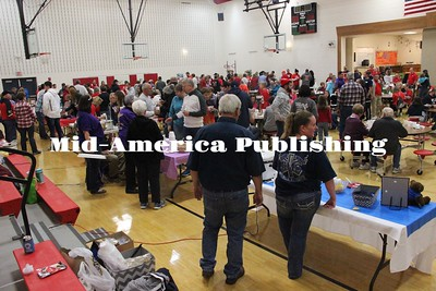 Curran McLaughlin | The Leader The 13th Annual Britt Chamber Chili, Salsa and Cinnamon roll cook off was packed leading up to the Eagles' game against St. Ansgar on Friday.