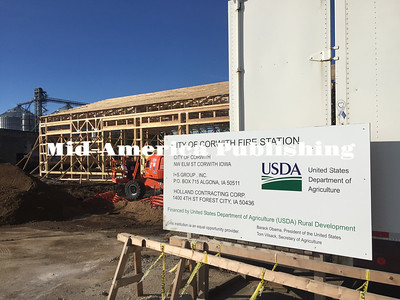 Landon Evanson | The Leader Construction of the new firehouse for Corwith began on July 11, with a targeted completion date of December 1.