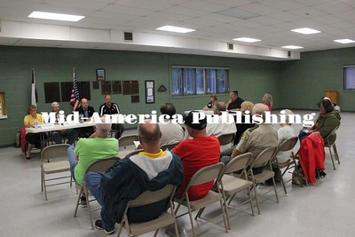 Curren McLaughlin | The Leader Candidates for the two available seats for the Hancock County Board of Supervisors address questions for those in attendance at Britt City Hall on Aug. 28.