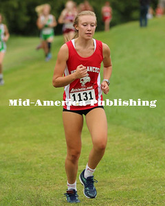 Curran McLaughlin | The Leader Rachel Leerar running at the Newman Invitational at Mercy West in Mason City on Aug. 28.