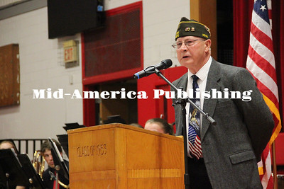 Curran McLaughlin | The Leader Jim Nelson spoke at the Veteran's Day program in Britt on Friday.