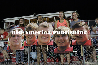 Curran McLaughlin | The Leader Fatheads of the senior boys were made especially for Homecoming.