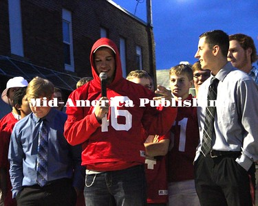 Curran McLaughlin | The Leader Senior Caleb Eckels speaks for his teammates during the Homecoming Pep Rally.