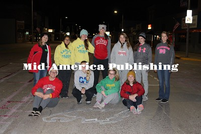 Courtesy of Lisa Carlson Students came out in the chilly morning to paint Main Avenue in Britt, Thursday morning. Front: Amanda Chizek, Riley Hiscocks, Kennedy Kelly, Paige Kudej; Back: Lily Hill, Anahi Calles, Ryleigh Hudspeth, Leah Aitchison, Natalie Lemmon, Scout Johanson, Katey Tegtmeyer
