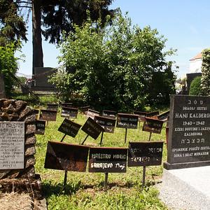 幼くして命を奪われた子供たちの墓碑。こうした墓石もない鉄板の墓碑が墓所のあちこちに見られる。多くはサラエヴォから連れられて来て、ここで亡くなった。