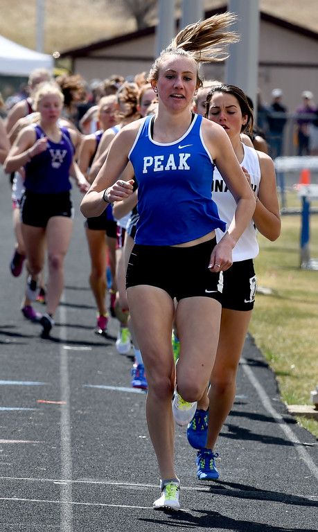 . Quinn McConnell, of Peak to Peak, wins the 1600 meters during the Lyons Invitational track meet on Saturday. For more photos, go to BoCoPreps.com. Cliff Grassmick  Photographer  March 31, 2018