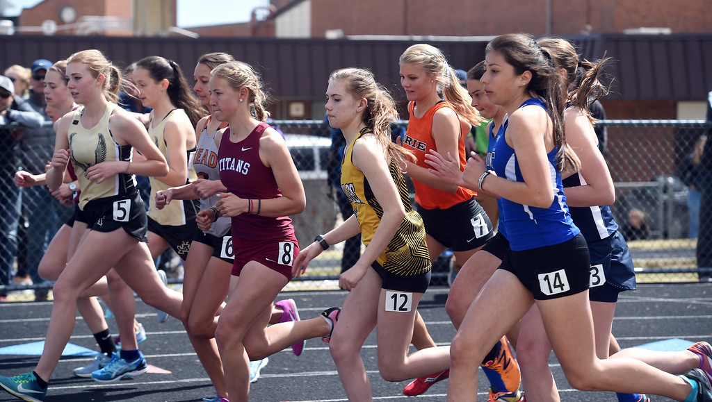. The first heat of the girls 1600 meter run of the Lyons Invitational track meet on Saturday. For more photos, go to BoCoPreps.com. Cliff Grassmick  Photographer  March 31, 2018