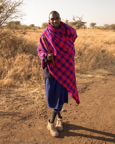 A Maasai Security Guard at a Central Serengeti Camp