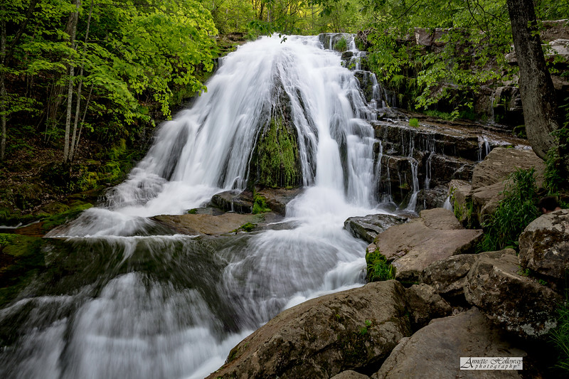 Waterfall at Roaring Run Falls Trail in Eagle Rock VA by Annette Holloway Photography