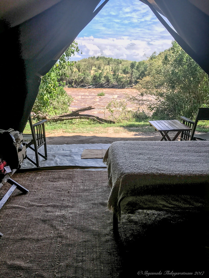 Our view from the tent...there was a croc outside one morning..
