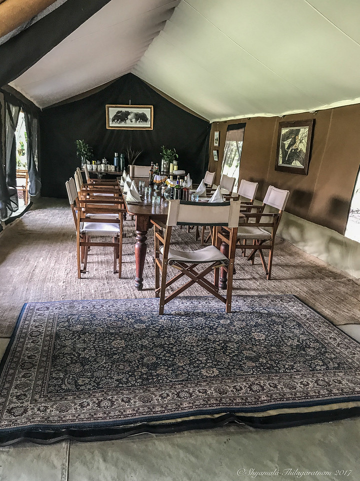 The lovely dining room at Nkorombo