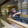 Chad Thrasher building a mantel