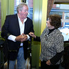 The March of Dimes held a Kick off reception for this falls Signature Chef Auction, and announcement of this year's honoree, local artist Janet Lambert Moore, was held at Ricardo's Restaurant in Lowell on Monday night. Honoree Moore chats with polio survivor Ziggy Burns at the event. SUN/JOHN LOVE