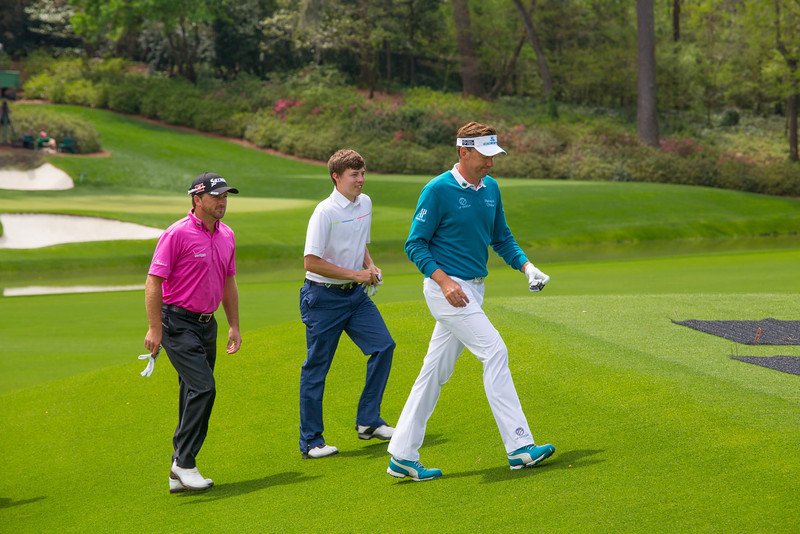 Poulter, Fitzpatrick & McDowell walking up to the tee at #12