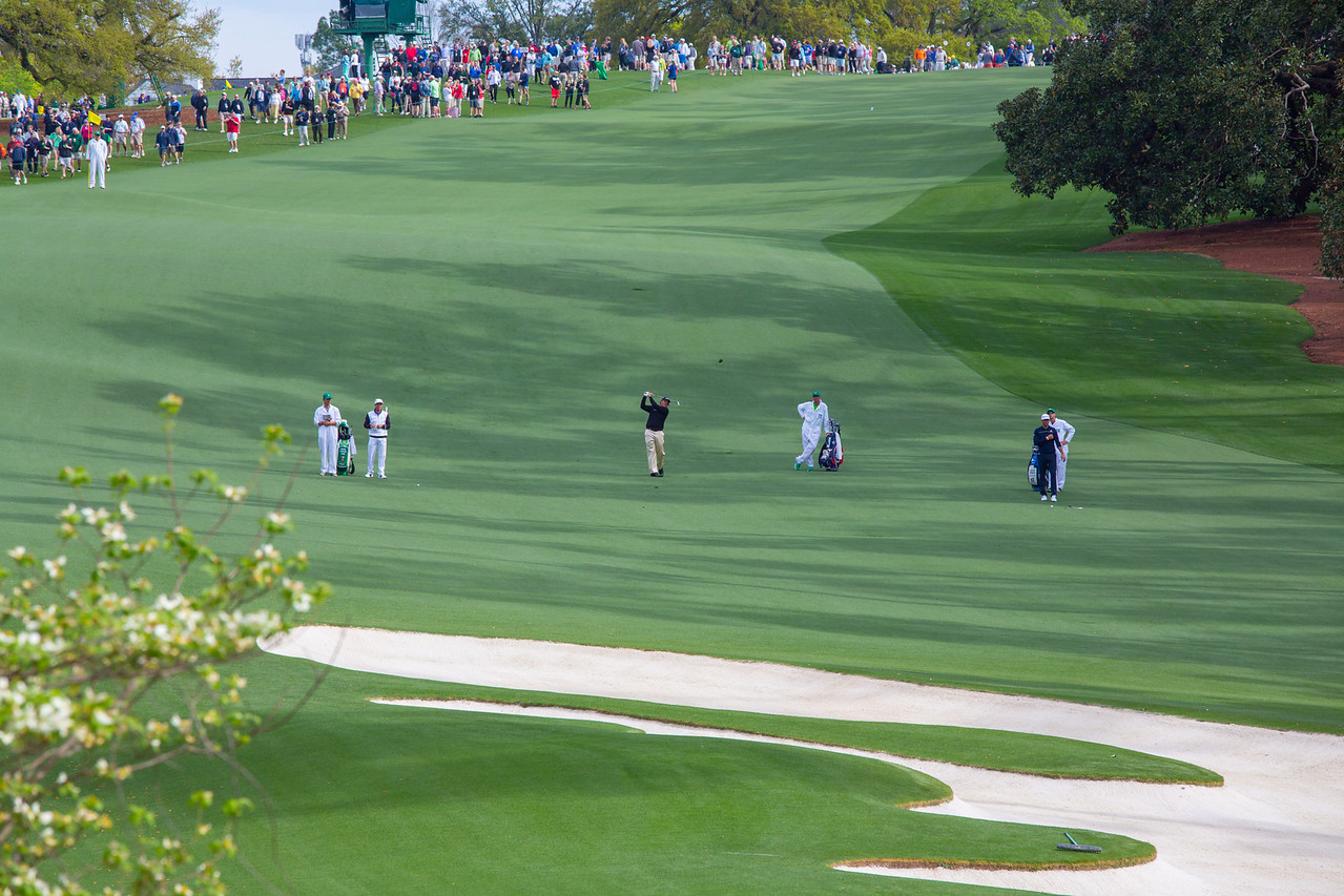Phil Mickelson with his approach on the 10th hole at the Master's