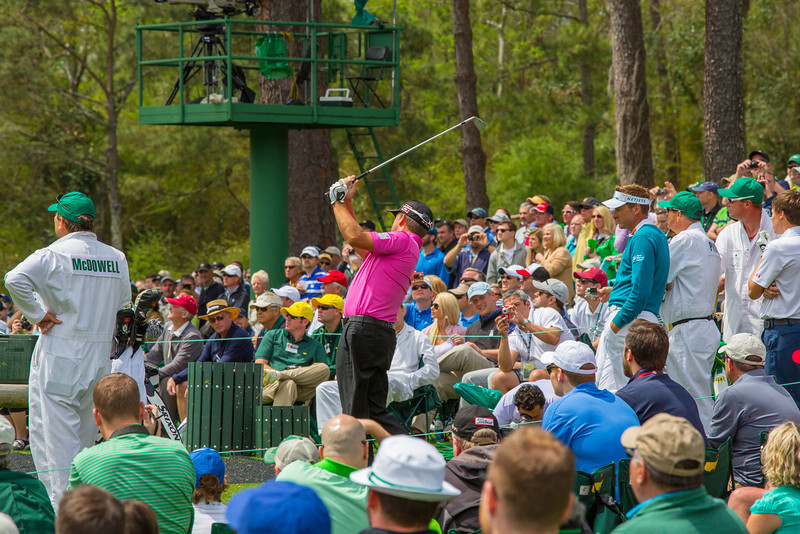 Graeme McDowell on the tee at #12
