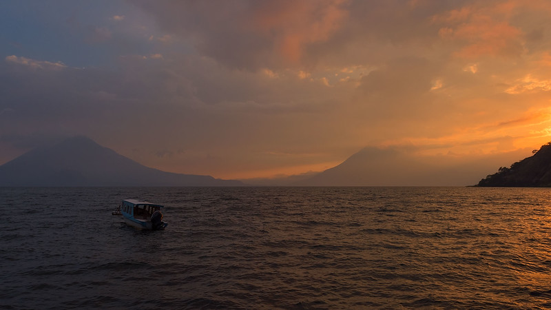 Sunset Over Lake Atitlan and Boat
