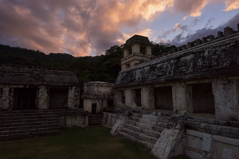 Sunset in Palenque Palace