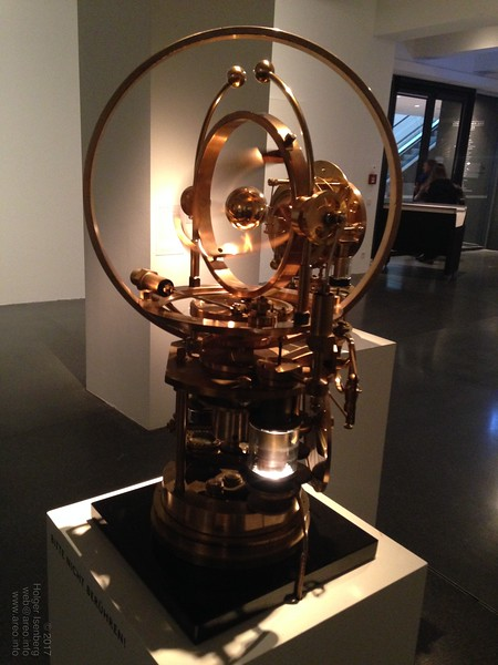"The Steampunk Time Machine, Jos de Vink, 2010. The metal sphere appears to be floating inside the rotating gimbal mechanics powered by stirling engines.<br><br>Exhibition ""The Mechanical Corps. On the Trail of Jules Verne"", Hartware MedienKunstVerein in the Dortmunder U through July 12 2015, http://hmkv.de"