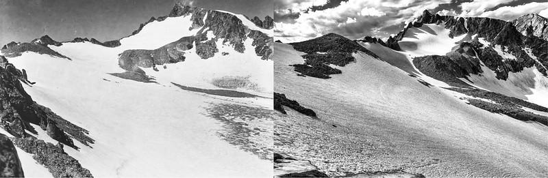 Sacagawea Glacier, 1950 (L) and 2020 (R).