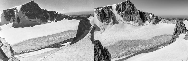Bull Lake Glacier, 1950 (L) and 2020 (R).