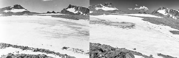 Upper Fremont Glacier, 1950 (L) and 2020 (R).