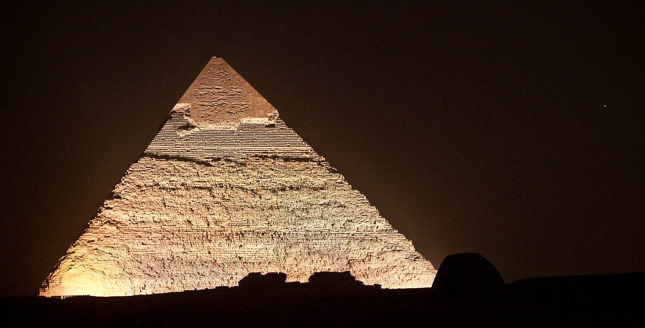 Giza Pyramids at Night  Cairo, Egypt