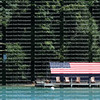 American flag covered boat house