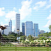 Skyline buildings and public art are popular tourist attractions at Grant Park in downtown Chicago, USA.