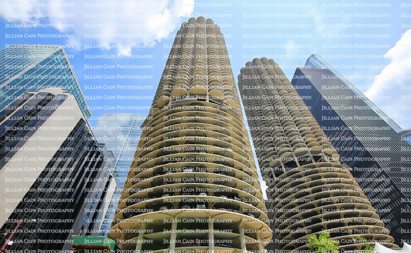 Different designs and shapes of tall skyscrapers along Chicago Riverfront in downtown Chicago, Illinois, USA.