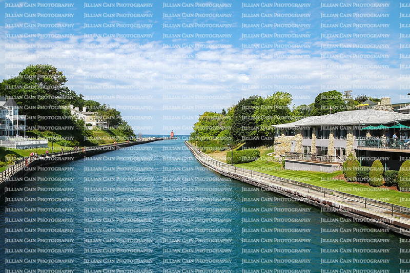 Scenic view of Round Lake Channel in Charlevoix, Michigan, USA.