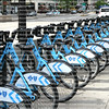 Bikes for rent at the Divvy station in downtown Chicago, Illinois