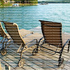 Lounge chairs on a beautiful lake front dock in Walloon Lake, Michigan