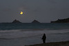 Woman Fishing as the Full Moon Rises Over the Mokulua Islands
