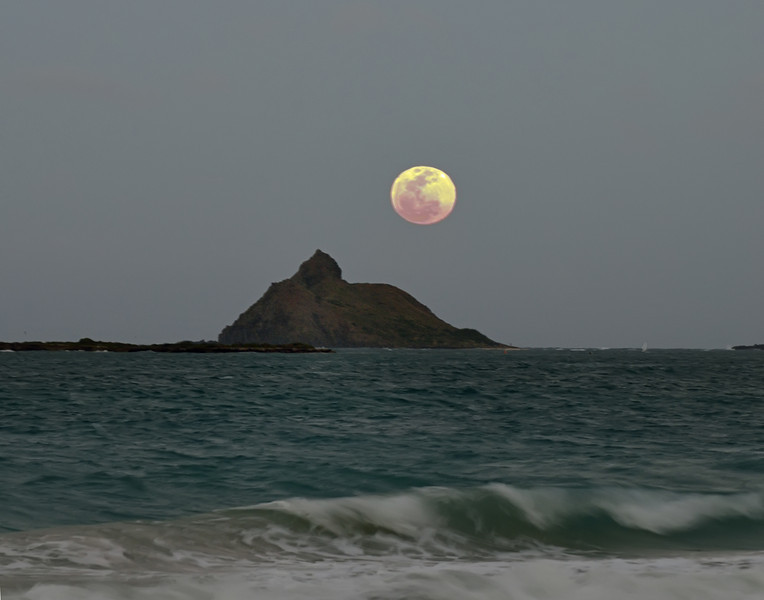 Full Moon Rises Behind Mokulua Nui on May 5, 2012