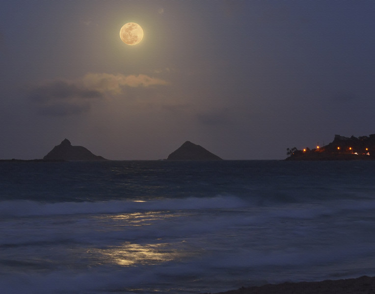 Full Moon over the Mokulua Islands and Lanikai Point<br /> May 5, 2012