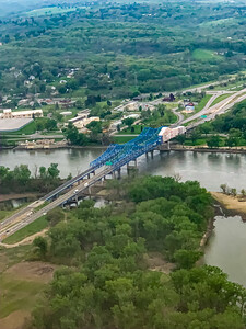 The Mormon Bridge, Omaha,  Aerial view, from the East, Missouri river, meandering under the bridge,