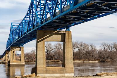 North face, East bound,  Mormon Bridge, Highway I-680, Omaha, Nebraska, undersurface  view, Missouri river, under the bridge,