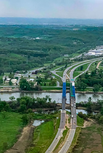 The Mormon Bridge, Omaha, Aerial view, from the North, Missouri river, meandering under the bridge,