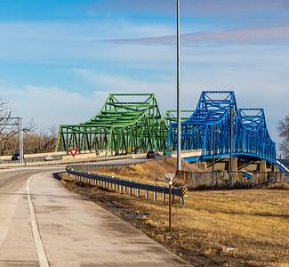 Omaha end,  Mormon Bridge, Highway I-680, Omaha, Nebraska, undersurface  view, Missouri river, under the bridge,