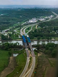 The Mormon Bridge, Highway I-680, Omaha Nebraska, , Aerial view, Missouri river, meandering under the bridge,