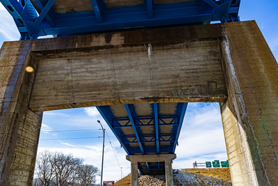 The Mormon Bridge, Highway I-680, Omaha, Nebraska, undersurface  view, Missouri river, under the bridge,
